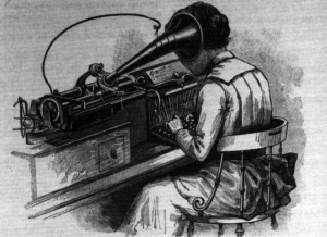 A 'typewriter' transcribing from an Edison Phonograph, 1892.